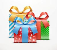 Vector illustration of three color present boxes isolated on white background.