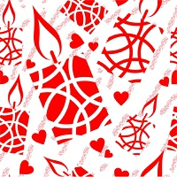 Vector. Seamless christmas candle grunge texture 541