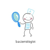 bacteriologist with a magnifying glass
