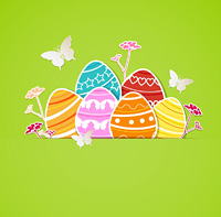 Vector green Easter background with eggs and butterflies