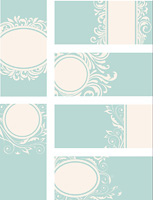 Blue decorative vintage vector cards with floral ornament