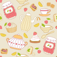 Vintage vector seamless pattern with tea and fruits