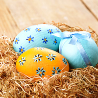 Nest with Easter eggs on the wooden table