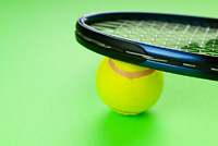 Tennis concept with balls and racket