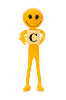 Smiley  holding the letter isolated on white
