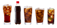 set with different glasses of cola on white background