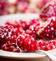pomegranate seeds in a plate