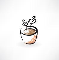 flower in pot grunge icon
