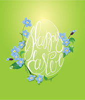 Holiday greeting card with egg is made of calligraphic text Happy Easter and forget me not spring flowers on green background