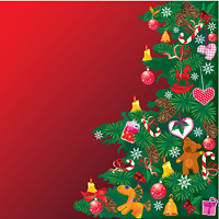 Christmas tree with accessories on red background with empty space for your text