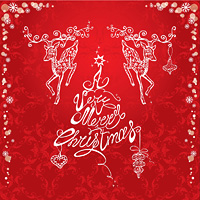 Holiday card with hand drawn illustration of reindeers and hand written text A very Merry Christmas on red ornamental background.