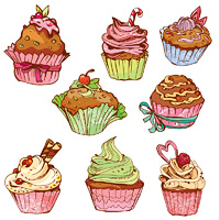 set of decorated sweet cupcakes - elements for cafe, menu, birthday design, etc.