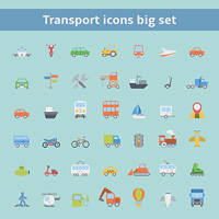 Set of flat transportation vehicles icons for web design or infographics elements isolated vector illustration
