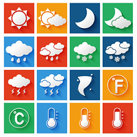 Weather forecast symbols white icons set of wind thunderstorm clouds and rain vector illustration