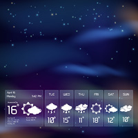 Weather forecast transparent widget template on night sky background with design elements for mobile application vector illustration