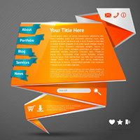 Orange origami paper website page design template with navigation icons vector illustration
