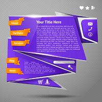 Blue original origami paper website page design template vector illustration