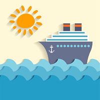 Sea cartoon poster with ship and sun vector illustration