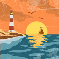 Sea retro poster with sailing ship rising  sun and lighthouse vector illustration