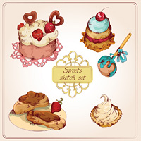Food sweets bakery and pastry sketch colored set of strawberry cream cup cake isolated vector illustration