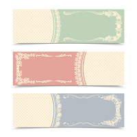 Blank decorative banners set for decorative design with twirls and frames vector illustration