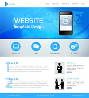 Website design template with menu and navigation layout elements vector illustration.