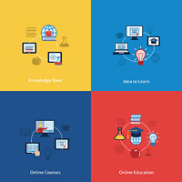 Business concept flat icons set of online education courses knowledge base and learning ideas infographic design elements vector illustration