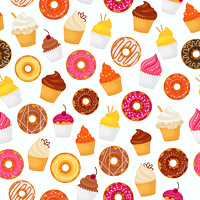Sweet and tasty food dessert donut and cupcakes seamless pattern vector illustration