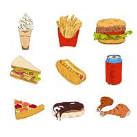 Set of sketch doodles hamburger hot dog fast food pizza icons in color vector illustration