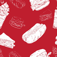 Red seamless background with hot-dog hamburger fast food sketch icons vector illustration