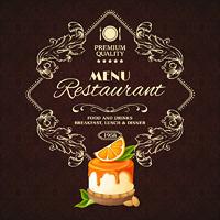Decorative sweets dessert restaurant menu with orange syrup cake vector illustration