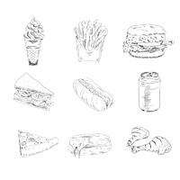 Set of sketch doodles hamburger fast food hot dog pizza icons in black vector illustration