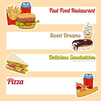 Fast food restaurant menu delicious sandwiches pizza hotdog sweet drinks fill in template form banner vector illustration