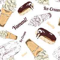 Fast food restaurant service chicken legs sandwich icecream wrapping paper seamless pattern print doodle sketch vector illustration
