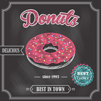 Sweet glazy delicious pink donut dessert best choice on cafe chalkboard poster vector illustration