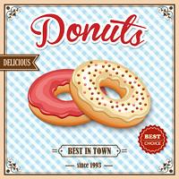Tasty baked delicious donut dessert best in town on cafe retro poster vector illustration