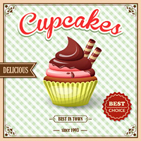 Sweet food dessert cupcake on cafe retro poster with squared background vector illustration.