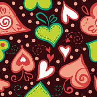 Seamless pattern with abstract hearts