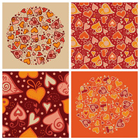 Set of love backgrounds. Illustration of Valentine card and seamless pattern with abstract hearts