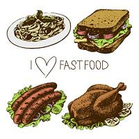 Fast food set. Hand drawn illustrations