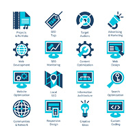 SEO and internet optimization icon set. Isolated vector illustration