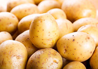fresh raw potatoes as background