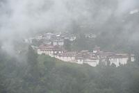 Fog over Trongsa Dzong, Trongsa, Bhutan