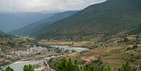 High angle view of Punak Tsang Chhu River, Punakha Valley, Punakha District, Bhutan
