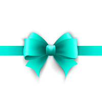 Vector Invitation card with blue holiday ribbon and bow. Invitation card with blue holiday ribbon and bow