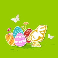 Vector green Easter background with eggs and chicken