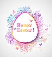 Decorative vector Easter background with pink and blue flowers