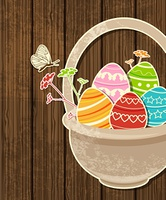 Vector wooden Easter background with eggs in basket