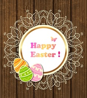 Vector round Easter banner with lace and eggs on a wooden background