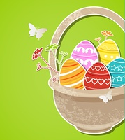 Vector green Easter background with eggs in basket